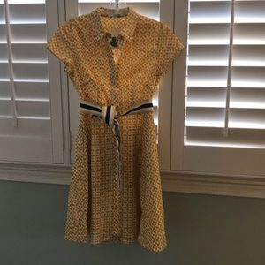 NWT Boden yellow and white dress with belt